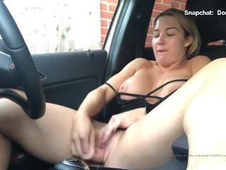 BBW Milf Fucking Herself With Dildo Outdoor In Car