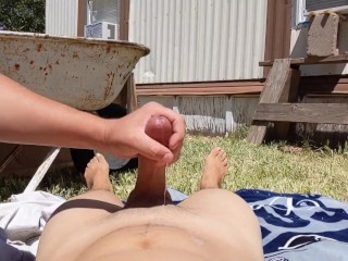 Outdoor cumshot