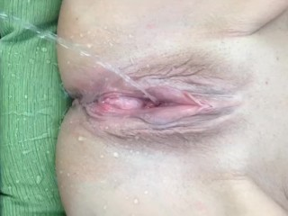 My wife spreading and pissing outdoors. Big 38DDs tits & Pink Bucket Cunt