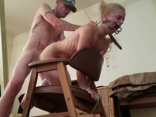 Quinn gets used and abused while bound. She is dental gagged and analhooked