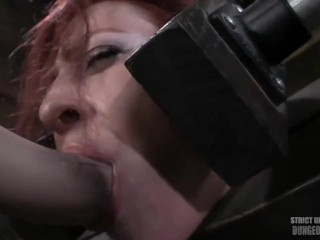 Redhead Locked Up, Made to Suck Dildo and Uncontrollably Orgasm