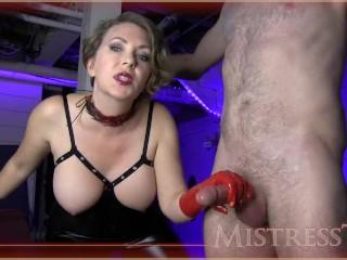 Mistress T Red Latex Gloves Femdom Handjob