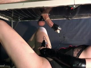 Femdom Milking Gloryhole Vibrator Controller! Filling Up Condom