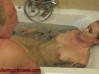 Slave armpit licking and piss drinking in the bath