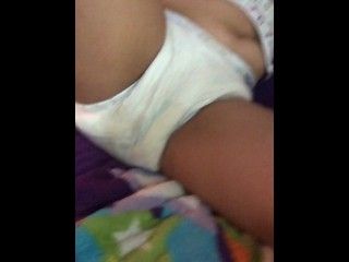 BABY broad peeing her diaper for daddy