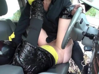 lovers Fucking Outdoor - broad With Latex Mask + Gloves - Breathplay Pissing
