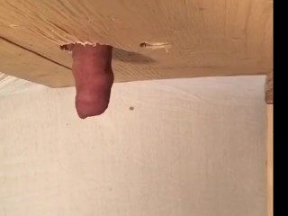 Desperate moaning pee in GloryHole holding
