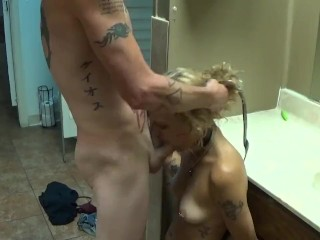 Extra small young whore used and abused in a public rest room.