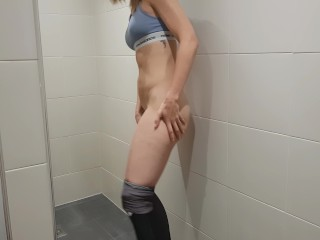 Fit lady masturbates in a gym bathroom amateur hidden camera  PetitTits