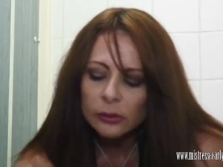 Mistress Carly rides in toilet and has slave blow her creampie