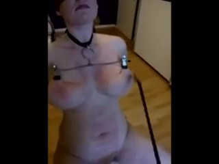 Pain slut with huge tits gets brutally tit and pussy whipped