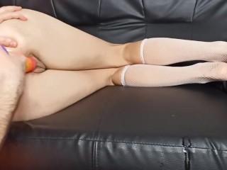 fisting hot polish wife rainbow dildo anal toy orgasm brutal hard