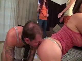 Gagged slave brutally humiliated by three dominas