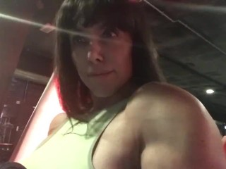 She Hulk with huge tits in gym. Brutal exercise.