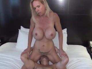 Naughty mom gives amazing deepthroat blowjob