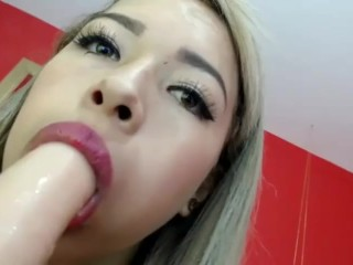 sloppy spit bimbo deepthroat blowjob saliva camslut cock sucker