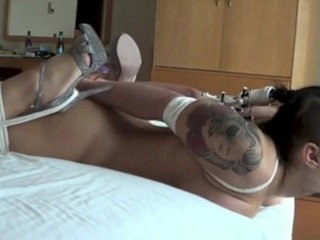 Slut hogtied and trained how to deepthroat